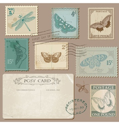 Vintage Postcard and Postage Stamps with Butterfli vector image vector image
