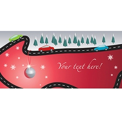 Xmas Card with road vector image