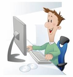 cartoon laptop man vector image