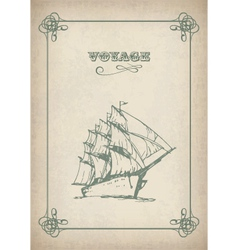 Vintage sailboat retro border drawing on old paper vector
