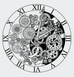 Watch parts clock mechanism with cogwheels vector