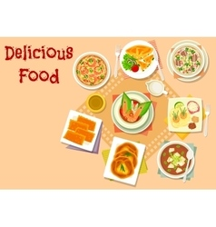 Asian soup with meat and cheese pastry icon vector image vector image