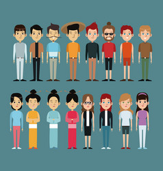 character people oriental and caucasian vector image