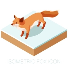 Isometric fox icon on a square ground vector image vector image