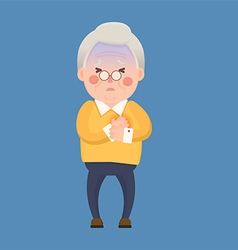 Old Man Heart Attack Chest Pain Cartoon Character vector image