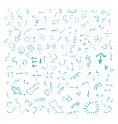 Set of blue hand drawn arrows vector image