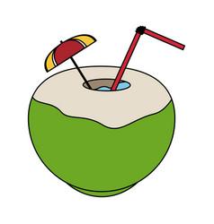 color image cartoon coconut cocktail drink vector image