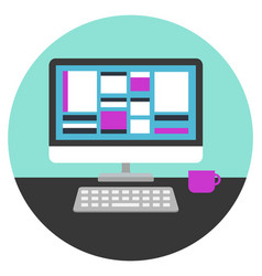 computer desk vector image