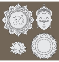 Head of Buddha Om sign Hand drawn lotus flower vector image