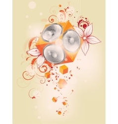 music background with floral elements and vector image vector image