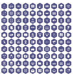 100 cyber security icons hexagon purple vector