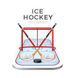 3d ice hockey crossed sticks with puck vector