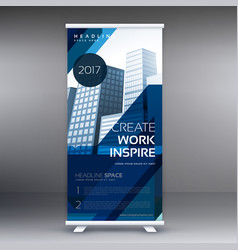Abstract blue standee roll up banner design vector