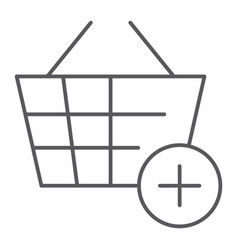 Add to bucket thin line icon internet and shop vector