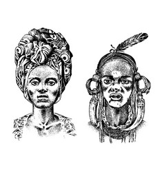 African woman portraits of aborigines in vector