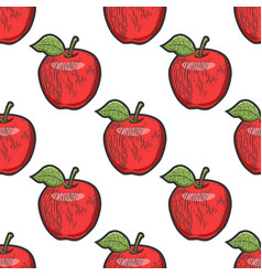apple seamless pattern sketch vector image