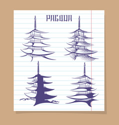 asian pagoda set on notebook page vector image
