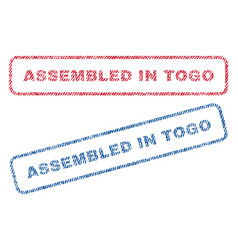 Assembled in togo textile stamps vector