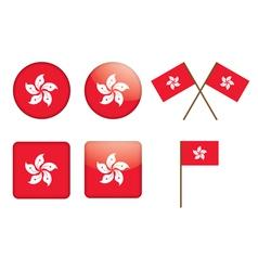 badges with flag of Hong Kong vector image