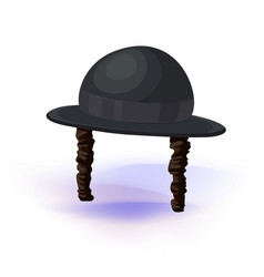 Black cylinder hat orthodox jewish hat with vector