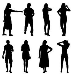 Black silhouettes of beautiful man and woman on vector