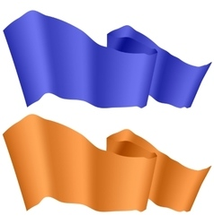 Blue and Orange Ribbons Isolated vector