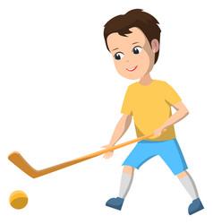 boy in sport school club playing field hockey vector image