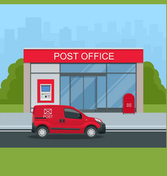 Building of post office and post car vector