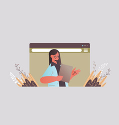 businesswoman chatting during video call business vector image