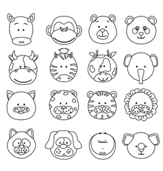 Cartoon animals faces vector