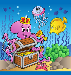 cartoon octopus on treasure chest vector image
