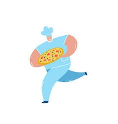 chef carrying pizza running flat vector image