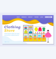 clothing store with clothes for women website vector image