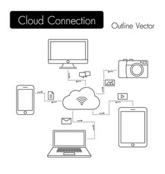 cloud connection modern devices share file vector image
