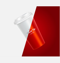 Coffee cup mockup on red and white background vector