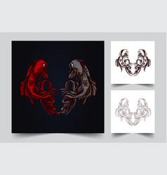 couple fish artwork vector image