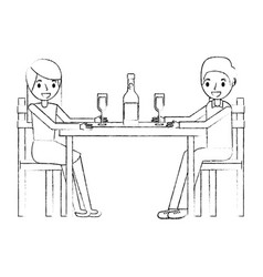 couple parents sitting with wine bottle glass vector image