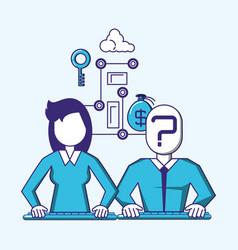 Couple with fintech concept vector