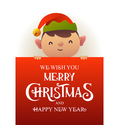 cute elf stands behind red signboard vector image