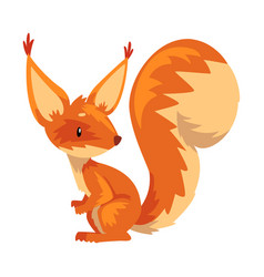 cute sitting squirrel funny little orange rodent vector image