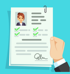 Cv document qualification personal documentation vector