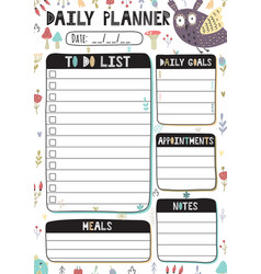 daily planner with cute owl printable template vector image