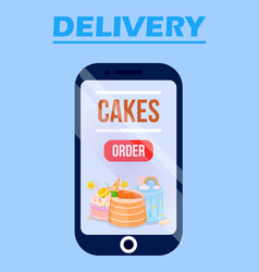 delivery cake online service app with sweets vector image
