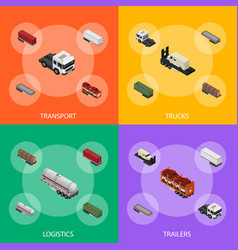 different types trailers 3d banner set isometric vector image