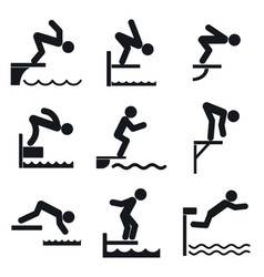 Diving board icons set simple style vector
