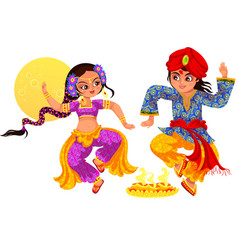Diwali and brother with sister on bhai dooj day vector