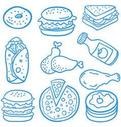 Doodle of delicious food art vector