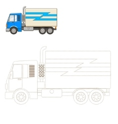 Draw truck educational game vector