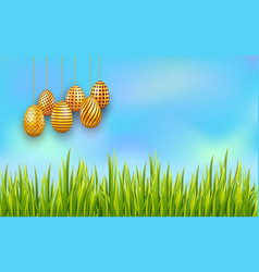 easter sky background with hanging decorated vector image