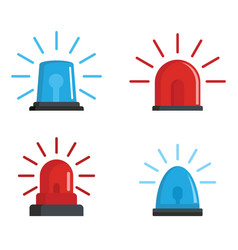 Flasher siren red and blue icons set flat style vector
